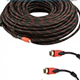 CableVantage HDMI Cable 2.0 75 FEET, Ultra-High Speed Supports Ethernet Audio Return ( ARC ), Bandwidth up to 18Gbps, 3D HD 1080p Ready, 75ft Braided Nylon Cable Cord Gold Plated Red