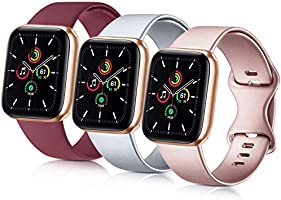 Usky 3 Pack Bands Compatible with for Apple Watch Band 38mm 40mm 42mm 44mm, Soft Silicone Replacement Strap for iWatch...
