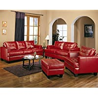 Coaster Home Furnishings Samuel Living Room Set with Sofa , Love Seat , Chair , and Ottoman in Red Premium Bonded Leather