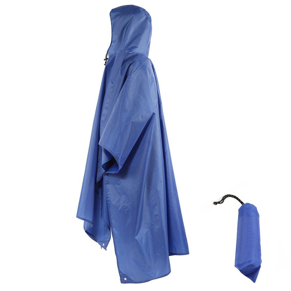 Zuoao Multifunktions Military Camouflage Regen Poncho reinwear verstaubarer Regenmantel Wasserdicht, leicht und folable, perfekt als Camping Zelt Regenschutz für Camping Bergsteigen, blau