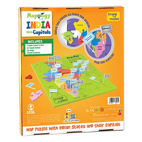 Imagimake Mapology India with State Capitals - Educational Toy and Learning Aid for Boys and Girls - Map Puzzle - Jigsaw Puzzle 3