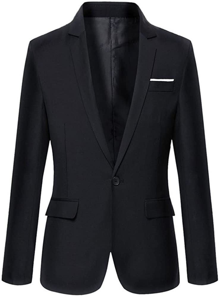 Mens Slim Fit Casual One Button Blazer Jacket at  Men's Clothing store