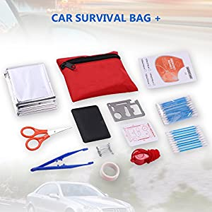Multifunctional Roadside Assistance Auto Car Safety Emergency Kit Set Car Survival Kit with Reflective Triangles, Booster Cable, Poncho, Tow Rope, Emergency Hammer in Carry Bag (R)