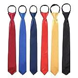 Toddlers Boys Zipper Ties Necktie - 6PCS Solid Color Adjustable Tie for Party