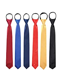 Toddlers Boys Zipper Ties Necktie - 6PCS Solid Color Adjustable Tie for Party (Wine Red,Blue,Navy Blue,Red,Gold,Black)