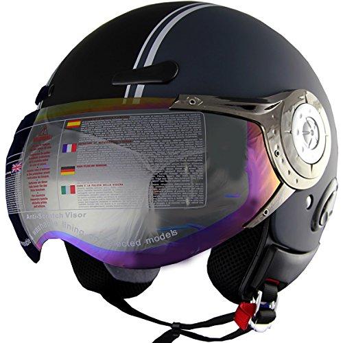 398 Matt - Open Face Motorcycle Scooter Helmet Jet Pilot Half FaceHelmet DOT 406 (398 Matt Grey, S)