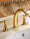 qiuxi Unique bathroom taps Brass Widespread Ti-PVD Golden Waterfall Roman Tub Sink Faucet Two Handle Three Holes Basin Vessel Tap Mixer