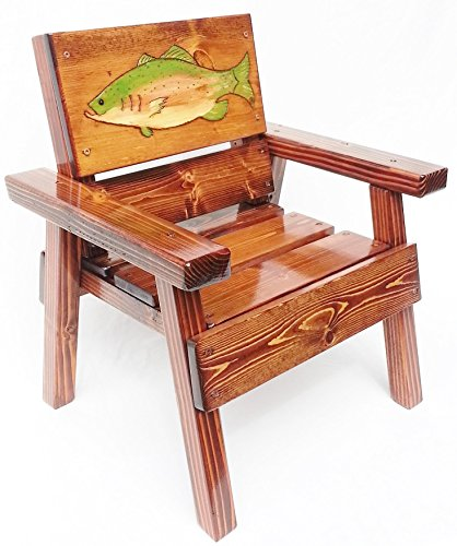 Childrens' Indoor / Outdoor Wooden Chair, Engraved and Painted Fish, Garden or Patio Heirloom Furniture