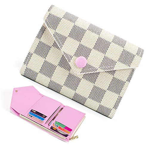 Trifold Wallets for Women Practical Compact Checkered Wallet and Blocking with Card Holder Organizer -PU Vegan Leather (Compact Wallet Cream)