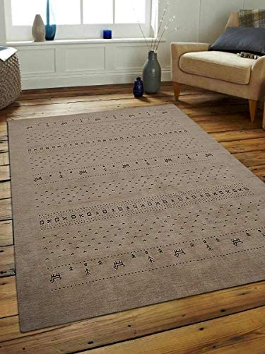 Rugsotic Carpets Hand Knotted Gabbeh Wool 8'x11' Area Rug Contemporary Beige L00585