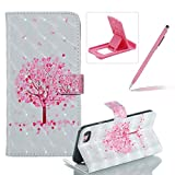 Rope Leather Case for iPhone 6S Plus,Wallet Flip Case for iPhone 6 Plus,Herzzer Stylish Luxury 3D Special Effects Pink Cherry Tree Pattern Premium PU Leather Stand Cover with Soft Rubber