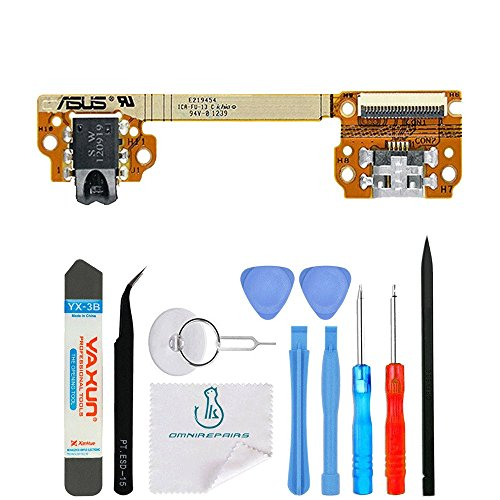 OmniRepairs-Charging Lightning USB Dock Port Flex Cable Replacement with Microphone, Headphone Audio Jack OEM Assembly For Asus Google Nexus 7 Tablet (2012) with Repair Toolkit