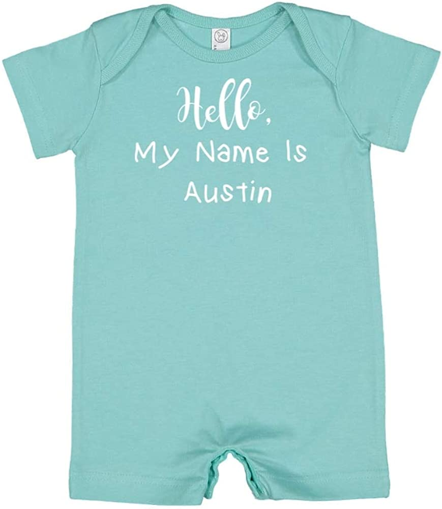 Personalized Name Baby Romper Mashed Clothing Hello My Name is Austin