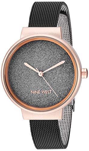 Nine West Women's Rose Gold-Tone and Black Mesh Bracelet Watch, NW/2397BKRT