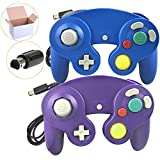 Poulep 2 Packs Classic Wired Gamepad Controllers for Wii Game Cube Gamecube console (Purple and Blue)