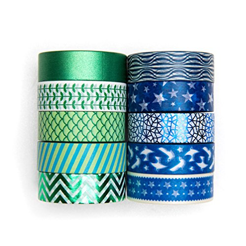 UNIQOOO Adhesive Washi Tape Masking Tape Set of 10 Rolls, Metallic Green & Blue Collection, 32 Feet Each Roll- Perfect for Crafting DIY, Gift Wrapping, Scrapbook, Bullet Journal Planner Decoration
