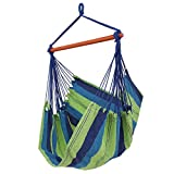 SONGMICS Cotton Hammock Chair Swing Chair Hanging Lounger for Patio, Porch, Garden or Backyard - Heavy-Duty, Lightweight and Portable - Indoor & Outdoor UGDC185UJ (Blue and Green)
