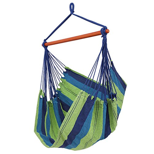 Cheap SONGMICS Cotton Hammock Chair Swing Chair Hanging Lounger for Patio, Porch, Garden or Backyard – Heavy-Duty, Lightweight and Portable – Indoor & Outdoor UGDC185UJ (Blue and Green)