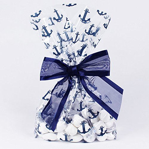 Nautical Anchors Cellophane Treat/Party/Wedding Favor Bags with Twist-Tie Organza Bow. Set of 10 Ready-to-Use, Gusseted 11x5x3 Goodie Bags with Bows, Navy Blue/Clear (Beach Themed Bridal Shower)