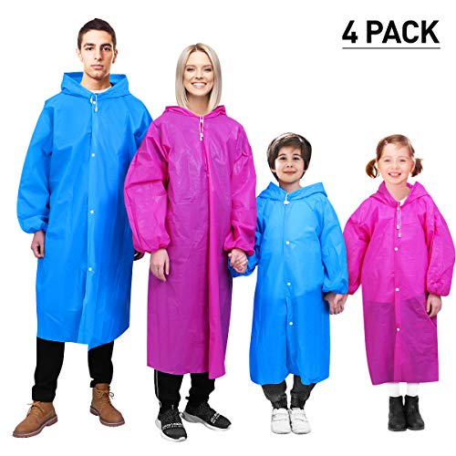 MOVTOTOP Ponchos Family Pack for Adults and Kids, Rain Ponchos Waterproof for Emergency, Portable Rain Poncho with Drawstring Hood and Elastic Sleeve for Hiking Theme Park Outdoor (A-Reusable)