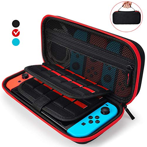 Aukor Carrying Case for Nintendo Switch with 20 Games Cartridge Holders, Protective Hard Shell Travel Carrying Case Pouch for Nintendo Switch Console Accessories, Red
