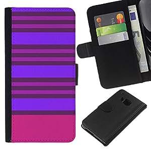 EJOY---La carpeta del tirón la caja de cuero de alta calidad de la PU Caso protector / HTC One M9 / --Púrpura Rosa Líneas simétrica
