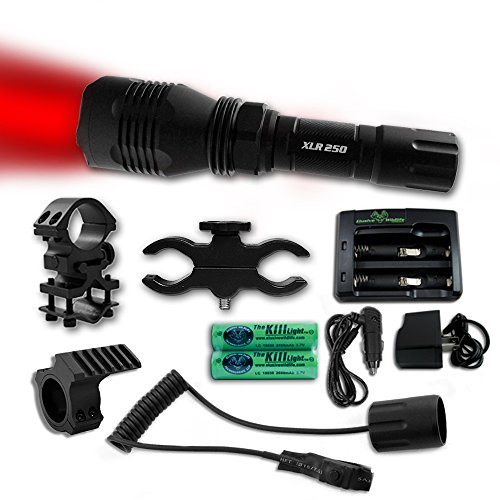 The Kill Light XLR250 Gun Mounted Hunting Light, Red, Triple Mode, On/Off Switch by Elusive Wildlife