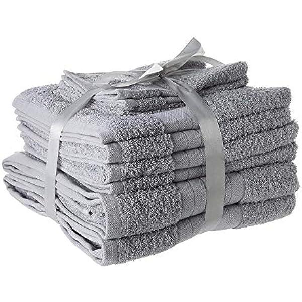 Dreamscene – lujo 100% algodón egipcio 10 piezas juego de toalla ...
