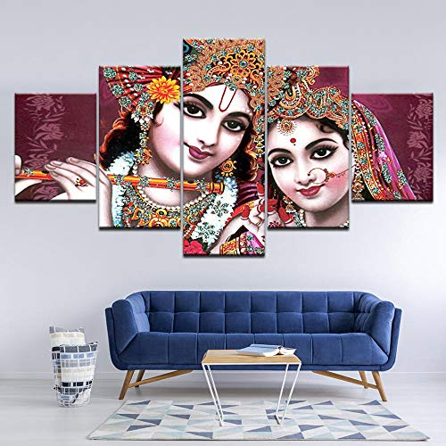 Yyjyxd HD Printed Pictures for Living Room Canvas Wall Art Frame 5 Piece India God Radha Krishna Painting Home Decor Posters Artwork-4x6/8/10inch,Without Frame (Best Radha Krishna Hd Wallpaper)