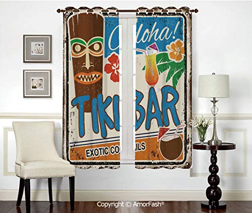(PUTIEN Grommet Energy Efficiency Window Drapery Curtains,Window Curtain Panels,42x45 Inch Tiki Bar Decor Rusty Vintage Sign Aloha Exotic Cocktails Coconut Drink Antique Nostalgic)