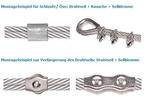 Sint/éticas DIN 14 mm Naturales Seilwerk STANKE 5x Dedal Alambre Galvanizado para las Cuerdas de Acero