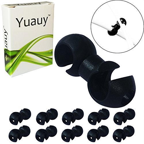 Yuauy 10 pcs Black Rotating S-Hook Clips Hook shift Cable Brake Gear Cable Housing Fixing Holder Guide Cycling Bike Bicycle ()