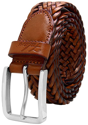 Falari Men's Braided Belt Light Brown 34-36 9007-LBN-M