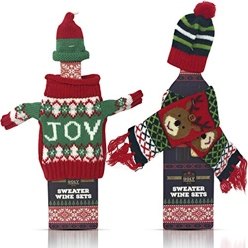 Christmas Wine Bottle Cover Decorations - Wine Accessories for 2 Bottles - 1 Ugly Xmas Sweater with Hat Set and 1 Scarf with Hat Set - Holiday Party Decoration Table Decor - RANDOM STYLES COLORS VARY -