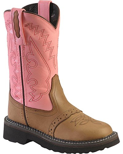 Old West Girls' Light Saddle Vamp Cowgirl Boot Round Toe Apache Tan 3 D(M) (Round Toe Girls Boots)