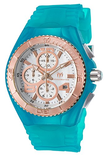 Technomarine Tm-115289 Women's Cruise Jellyfish Chrono Turquoise Silicone Rose-Tone Bezel Watch