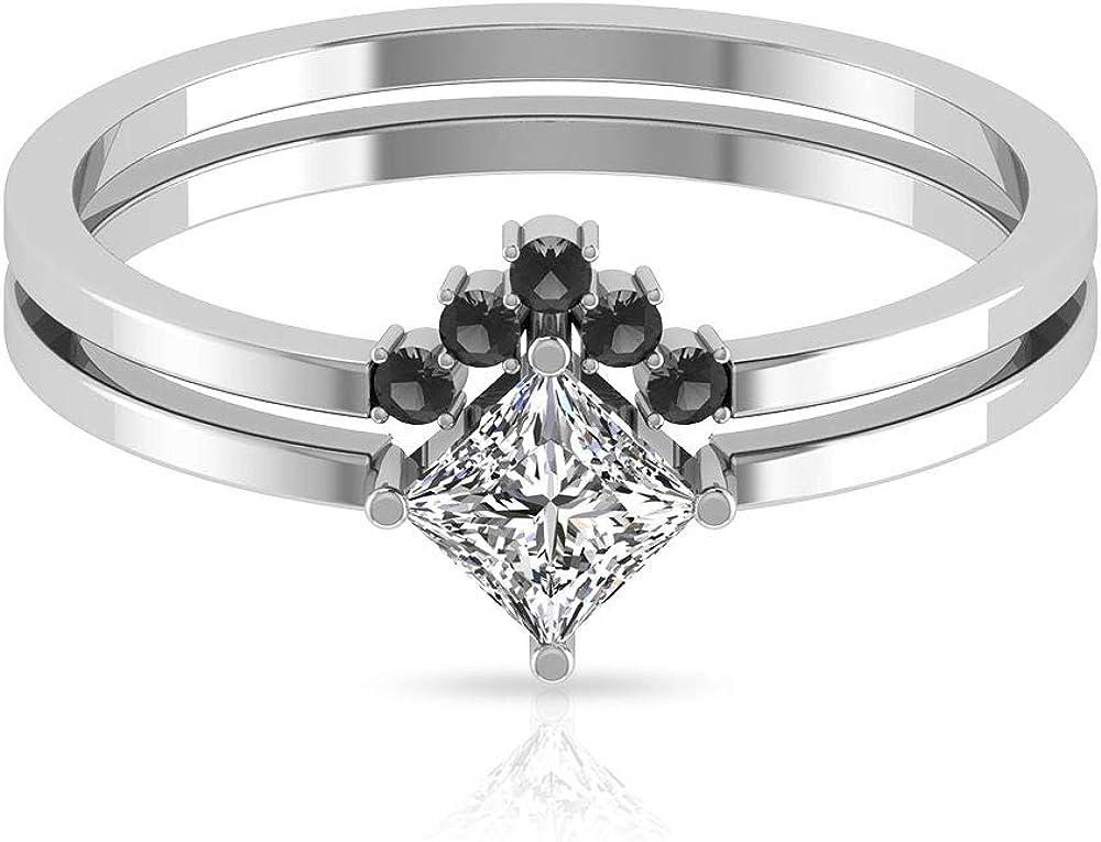 Anillo de compromiso con diamante certificado IGI en forma de princesa de 0,47 ct, exclusivo de diamantes negros de boda, anillos de compromiso apilables de Chevron, 10K Oro
