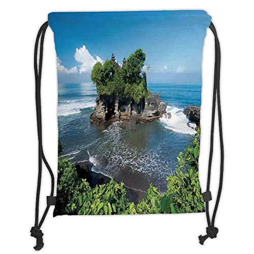 (Custom Printed Drawstring Backpacks Bags,Balinese Decor,Tanah Lot Temple in Bali Island Wavy Ocean Historic Architecture Heritage Picture,Green Blue Soft Satin,5 Liter Capacity,Adjustable String)