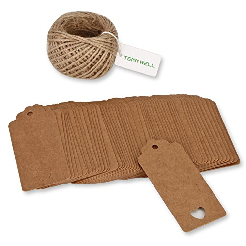 Tenn Well Kraft Paper Tags, 100pcs Thank You Gift Tags Bonbonniere Tags with 100 Feet Natural Jute Twine String for Thanksgiving Tags and Christmas Decoration Tags (Brown)
