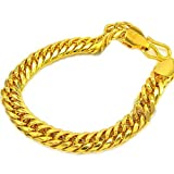 Skyjewelry Heavy Massive Mens Jewelry 18k Solid Yellow Gold Plated Mens Bracelet Chain 8.6'' Long