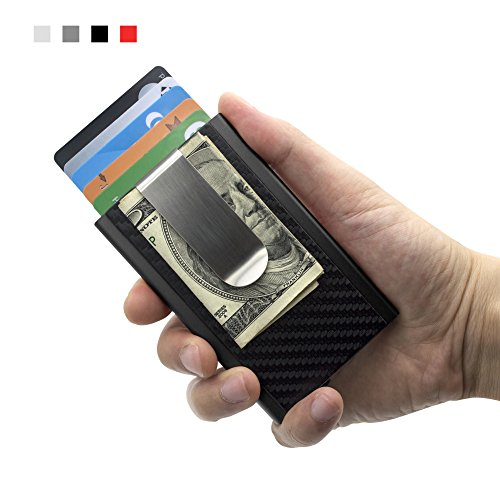 MOSIYEEF RFID Blocking Slim Wallet Aluminum Front Pocket Wallet Money Clip Wallet Automatic Pop Up Wallet Imitation Carbon Fiber Wallet (black)