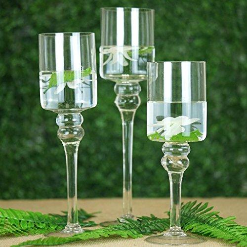 et of 3 Clear Long Stem Glass Cylinder Flower Vase Tabletop Candle Holders ()