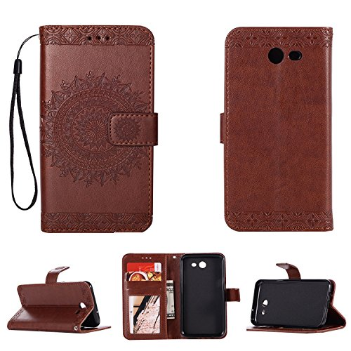 - Galaxy J7 V / J7 2017 / J7 Prime / J7 Perx / J7 Sky Pro/Galaxy Halo Case, Folice Mandala Flower Pattern [Shock Absorbent] PU Leather Kickstand Wallet Cover Durable Flip Case (Brown)