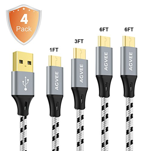 8' Component Video Cable (Cruel 3A Current Heavy Duty, Agvee 4Pack 1FT 3FT 6FT 6FT Micro USB Cable Set with Nylon Braided, Gold-plated End Tip, Durable Fast Charger Data Sync Charging Cord for Android(Black in Gray))