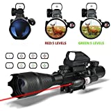 HSEE Tactical Rifle AR15 Scope 4-16x50EG Dual Illuminated, Red Laser Sight and 4 Holographic Reticle Red and Green Dot Sight for 22&11mm Weaver/Picatinny Rail Mount ( 12 Month Warranty )