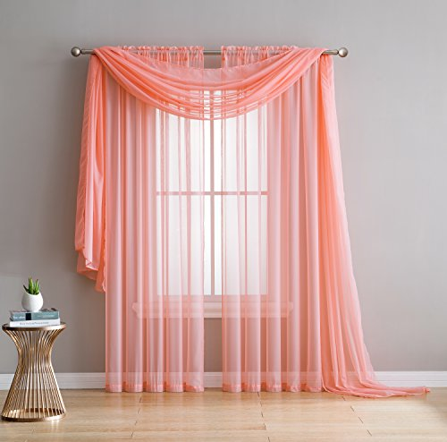 """Amazing Sheer Window Scarf Fabric Sheer Voile curtain for Window Treatment - Add to Window Curtains for Enhanced Effect (1 scarf 56""""x144"""", Coral)"""