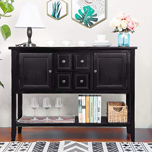 - Console Table Sideboard Buffet Storage Cabinet with Four Storage Drawers Two Cabinets and Bottom Shelf, Sofa Table for Entryway, Hallway and Living Room, Black