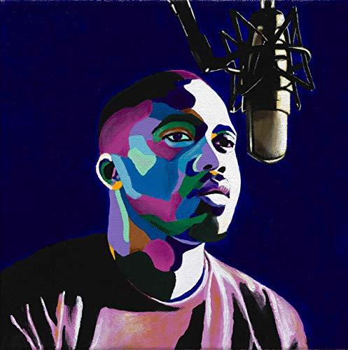 (Vakseen Art - One Mic - Nas portrait art - Limited Edition Giclee Print & Framed Pop Art for Wall)