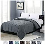Homelike Moment Reversible Lightweight Comforter - All Season Down Alternative Comforter Queen Summer Duvet Insert Grey Quilted Bed Comforters with Corner Tabs Full/Queen Size Dark Gray/Light Grey
