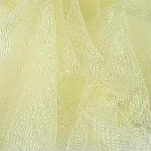 (BalsaCircle 54-Inch x 15 Yards Yellow Sparkle Glittered Net Tulle Fabric by The Bolt - Sewing Craft Wedding Favors Supplies)